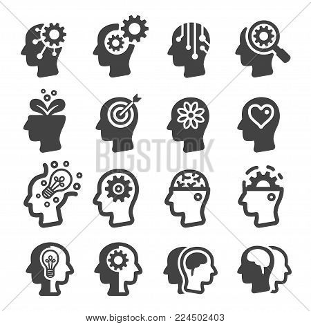 mind and thinking icon set vector illustration