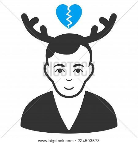 Deceived Horned Husband vector pictogram. Style is flat graphic bicolor symbol, blue and gray colors, white background.