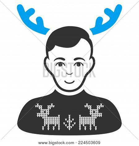 Deers Pullover Horned Husband vector icon. Style is flat graphic bicolor symbol, blue and gray colors, white background.