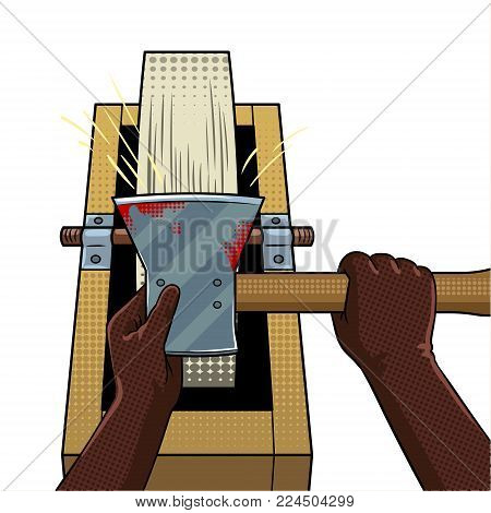 Hands of executioner sharpen ax on grindstone pop art retro vector illustration. Isolated image on white background. Comic book style imitation.