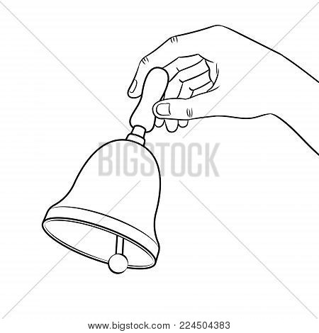 Hand ring bell coloring vector illustration. Isolated image on white background. Comic book style imitation.