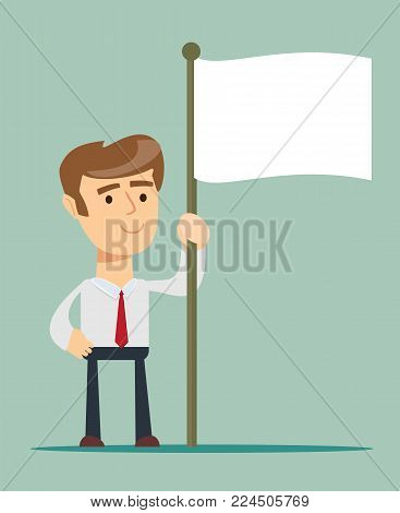 Abstract Businessman waves the white flag of defeat. Vector illustration of Retro styled Businessman who has given up the struggle and conceded defeat in his business battle.
