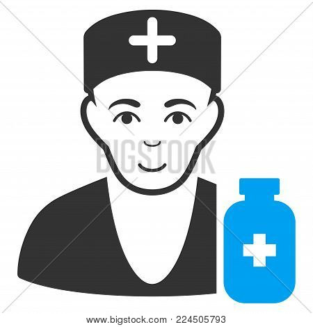 Apothecary Doctor vector pictogram. Style is flat graphic bicolor symbol, blue and gray colors, white background.