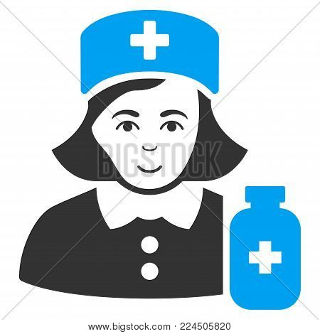 Apothecary Lady vector pictogram. Style is flat graphic bicolor symbol, blue and gray colors, white background.
