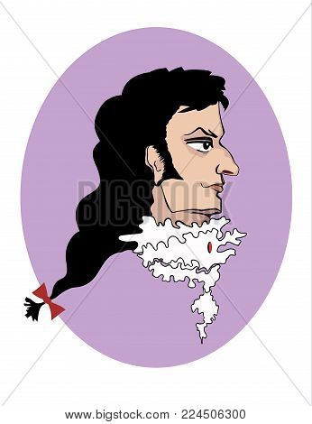 Vector portrait of an aristocrat of the Baroque era on a violaceous background in oval