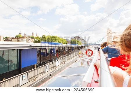 London - August 19, 2017: City Cruises Tour Boat On River Thames. City View From The Thames River