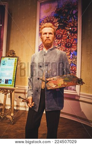 London, United Kingdom - August 24, 2017: Vincent Willem van Gogh in Madame Tussauds wax museum in London