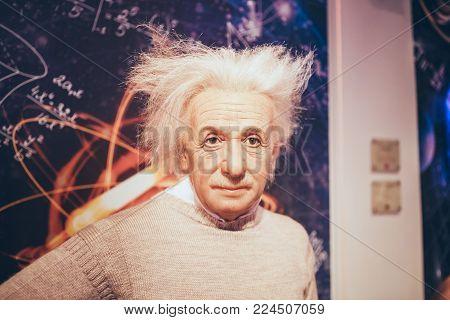 London, United Kingdom - August 24, 2017: Albert Einstein in Madame Tussauds wax museum in London