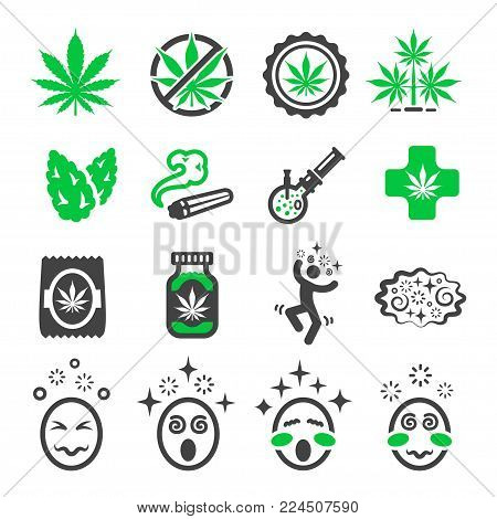 cannabis and marijuana icon set vector illustration