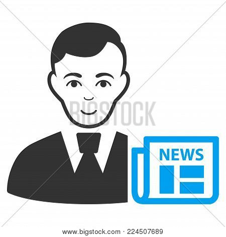 Businessman News vector pictogram. Style is flat graphic bicolor symbol, blue and gray colors, white background.