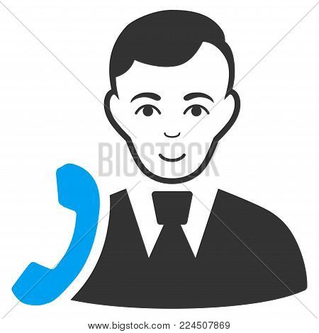 Call Manager vector pictogram. Style is flat graphic bicolor symbol, blue and gray colors, white background.