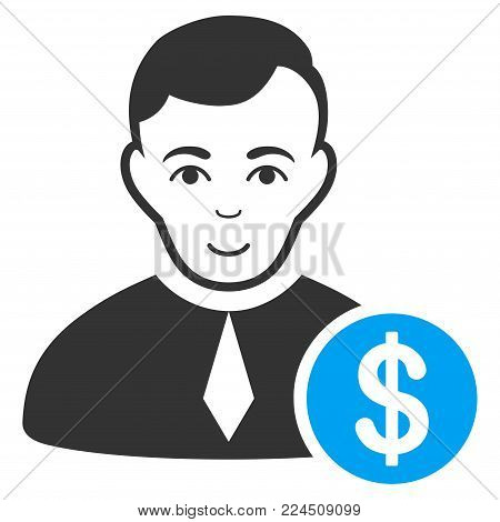 Commercial Lawyer vector icon. Style is flat graphic bicolor symbol, blue and gray colors, white background.