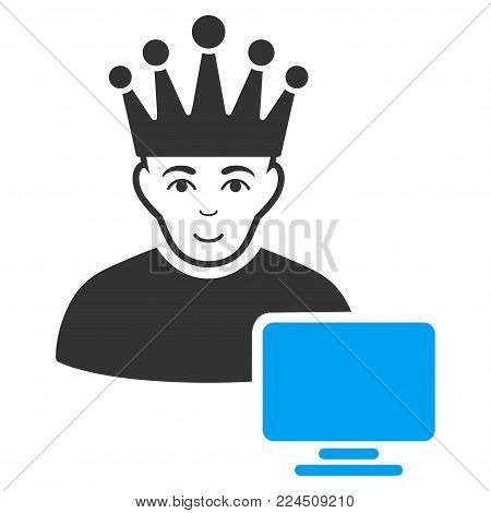 Computer Moderator vector pictogram. Style is flat graphic bicolor symbol, blue and gray colors, white background.