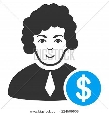 Corrupt Judge vector icon. Style is flat graphic bicolor symbol, blue and gray colors, white background.