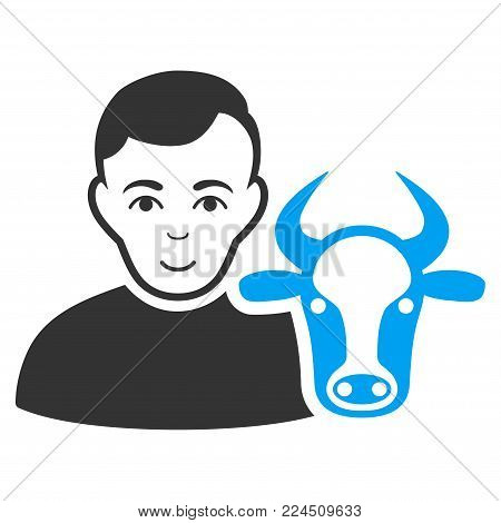 Cow Farmer vector icon. Style is flat graphic bicolor symbol, blue and gray colors, white background.