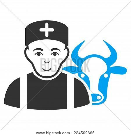 Cow Veterinarian vector icon. Style is flat graphic bicolor symbol, blue and gray colors, white background.