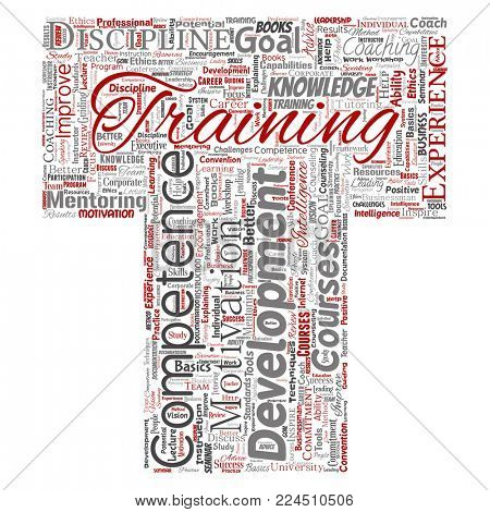 Conceptual training, coaching or learning, study letter font T word cloud isolated on background. Collage of mentoring, development, motivation skills, career, potential goals or competence