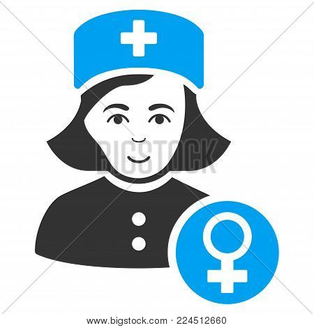Gynecologist Lady Doctor vector pictogram. Style is flat graphic bicolor symbol, blue and gray colors, white background.