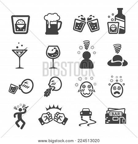 drunken and liqour icon set vector illustration