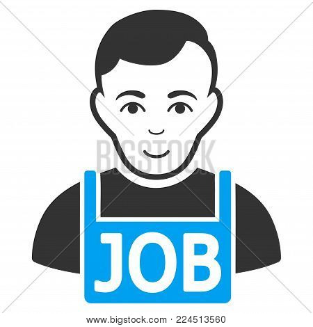 Jobless vector icon. Style is flat graphic bicolor symbol, blue and gray colors, white background.