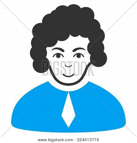 Judge vector icon. Style is flat graphic bicolor symbol, blue and gray colors, white background.