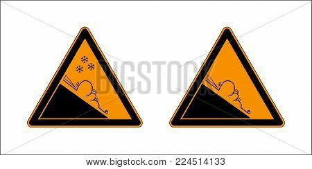 Winter snow covered mountains and warning set sign of avalanche danger isolated on a white background. Danger sign avalanches of ice and snow at highway or road. Vector illustration.