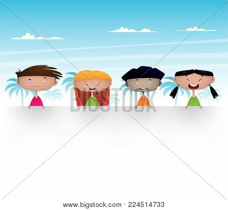 Cute multicultural kids holding blank banner for your message Vector Illustration of multicultural kids with blank space for your message.