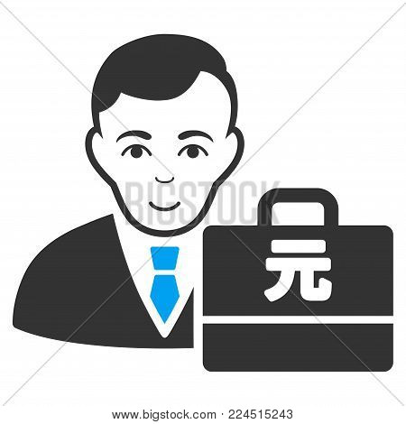 Yuan Renminbi Accounter vector pictograph. Style is flat graphic bicolor symbol, blue and gray colors, white background.