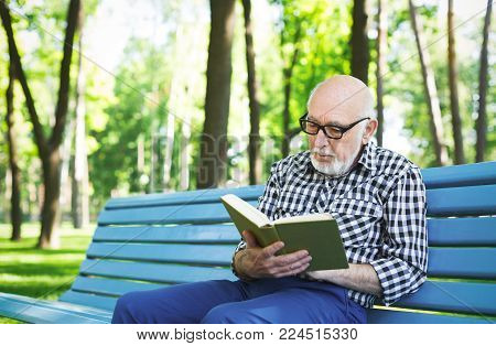 Senior man reading book outdoors. Elderly casual man in eyeglasses having rest on the bench in sunny summer park, copy space