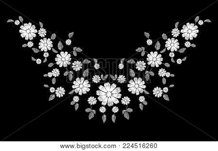 White lace flower embroidery neckline ornament. Fashion decoration stitched texture template. Ethnic traditional daisy field plant leaves textile print design vector illustration art