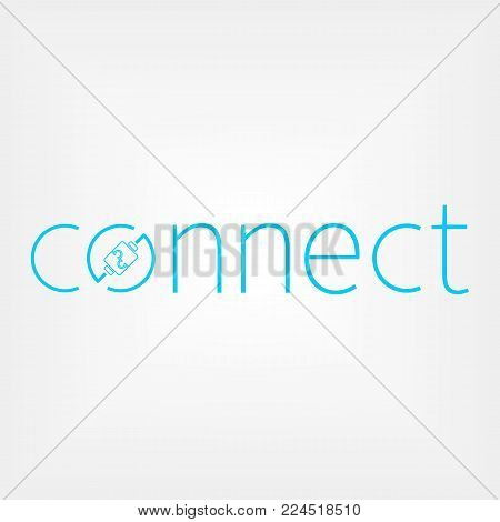 connect logo concept with mosaic connector. Wires connect people.