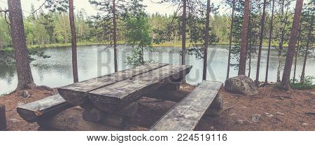 Resting place on trekking route Small bear round, Finland. Oulanka National Park
