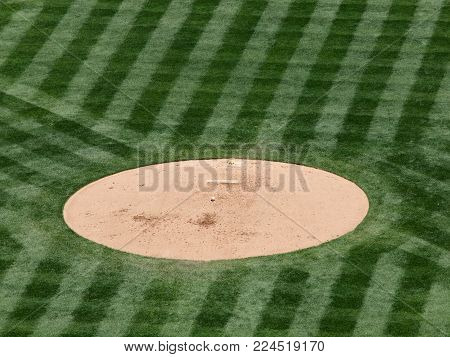 Baseball Mound Sits Empty In With Baseball And Rosin Bag During Game.