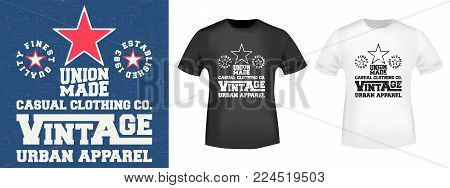 T-shirt print design. Vintage denim stamp and mockup t shirt. Printing and badge applique label college t-shirts, jeans, casual wear. Vector illustration.