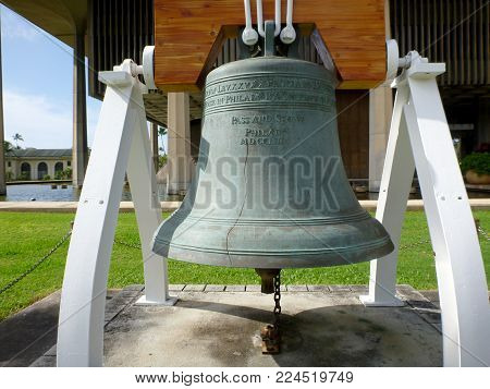 Close-up Of Liberty Bell In Front Of The Hawaii State Capitol. In 1950, The United States Department