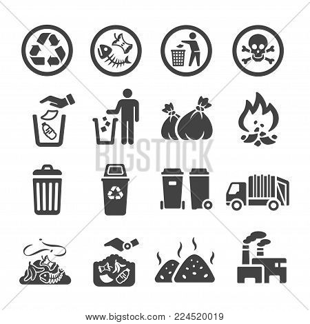 garbage and trash icon set vector illustration