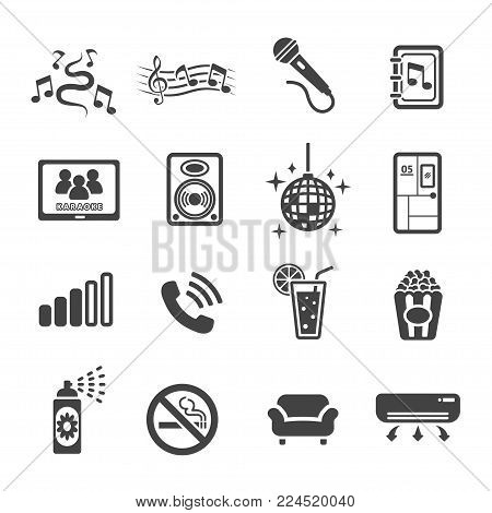 karaoke icon set entertainment icon vector illustration