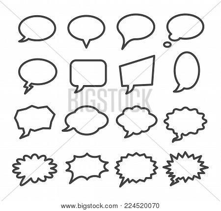 speech bubble line icon set vector illustration