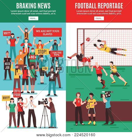 Set of vertical banners with breaking news about protest action and football reportage isolated vector illustration