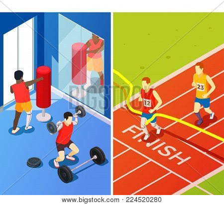 Bionics technology perfecting life quality vertical banners with people having prosthesis involved in sport isometric vector illustration