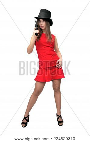 The spy. Special agent. Secret service. Dangerous woman in red dress is holding gun in her hands isolated on white.