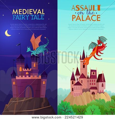 Set of two vertical fairy dragons banners with cartoon style images of mysterious castle with text vector illustration