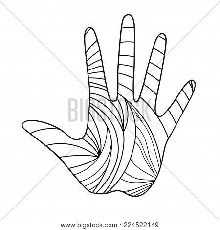 Hand. Hand drawn abstract patterns on isolation background. Design for spiritual relaxation for adults. Line art creation. Black and white illustration for coloring. Print for t-shirts and textiles