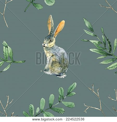 Watercolor seamless pattern with rabbits, leaves and branches will be good for gift wrapping, boxes design, site and greeting cards background and etc.