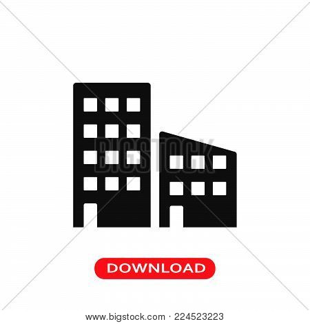 Urban buildings icon vector in modern flat style for web, graphic and mobile design. Urban buildings icon vector isolated on white background. Urban buildings icon vector illustration, editable stroke and EPS10. Urban buildings icon vector simple symbol f