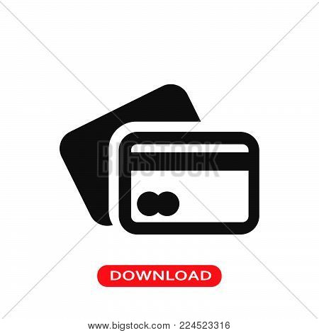 Credit card icon vector in modern flat style for web, graphic and mobile design. Credit card icon vector isolated on white background. Credit card icon vector illustration, editable stroke and EPS10. Credit card icon vector simple symbol for app, logo, UI