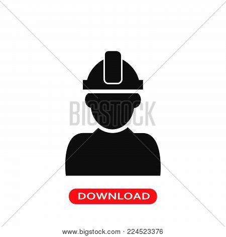 Constructor with hard hat protection on his head icon vector in modern flat style for web, graphic and mobile design. Constructor with hard hat protection on his head icon vector isolated on white background. Constructor with hard hat protection on his he