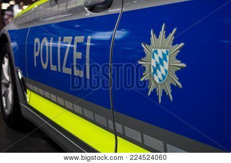 Frankfurt Am Main - September 15 2017: Police Car Patrolling In Frankfurt Am Main, Germany.