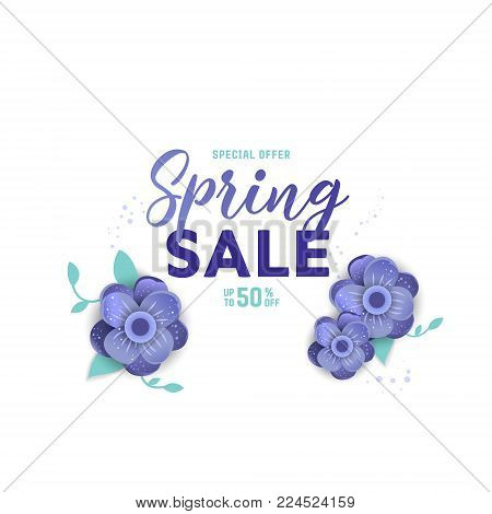 Paper art of  Spring  origami sale banner  concept.