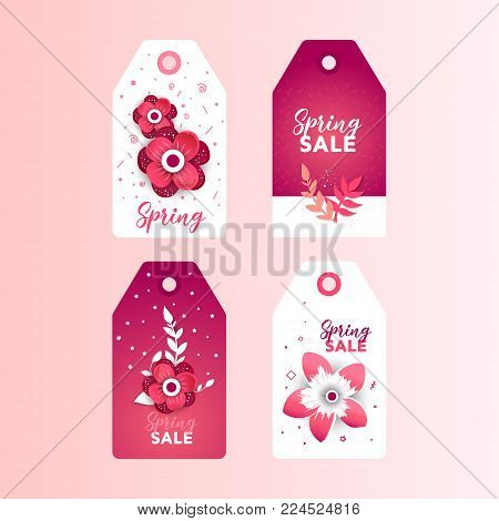 Spring sale paper cut Label sticker set. Paper art of  card template with flower and text